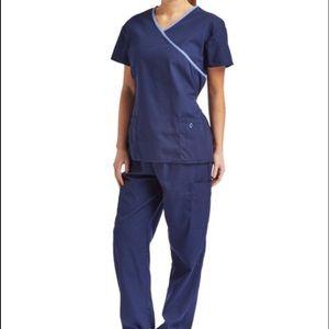 Navy Blue Scrub Wrap Top And Pants Set
